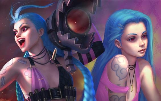 Papéis de Parede Duas meninas de cabelo azul, League of Legends