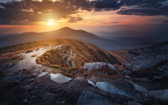Wallpaper Ukraine, Carpathians, mountains, clouds, sunset