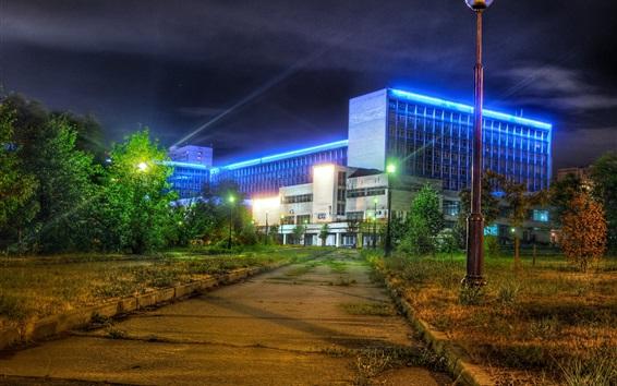 壁紙 大学、モスクワ、ロシア、ライト、夜、歩道