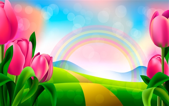 Wallpaper Vector design, pink tulips, rainbow