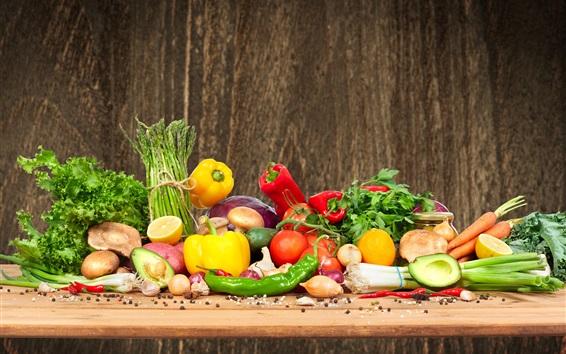 Wallpaper Vegetables, peppers, mushrooms, tomatoes, carrots, lemon