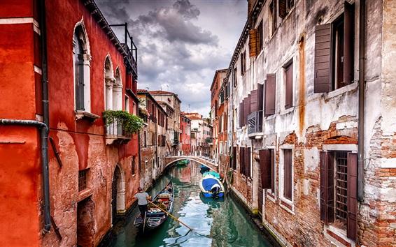 Papéis de Parede Veneza, Gôndola, casas, rio, barcos
