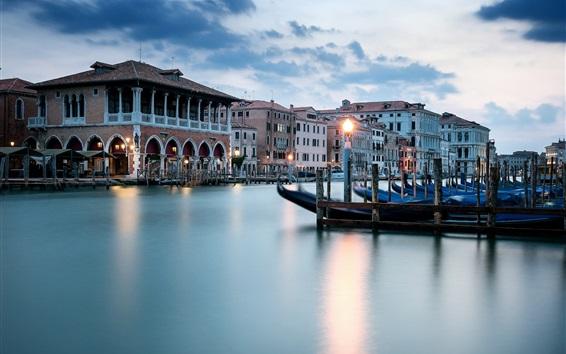 Wallpaper Venice, river, boats, houses, lights, dusk