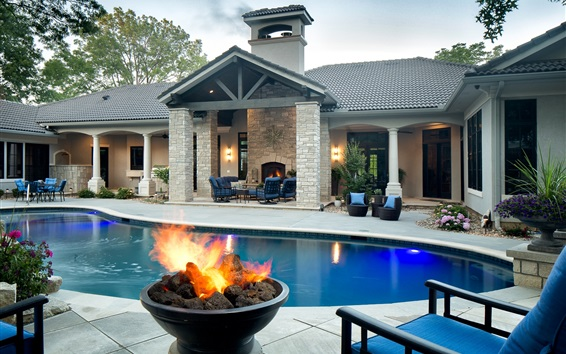 Wallpaper Villa, swim pool, fire