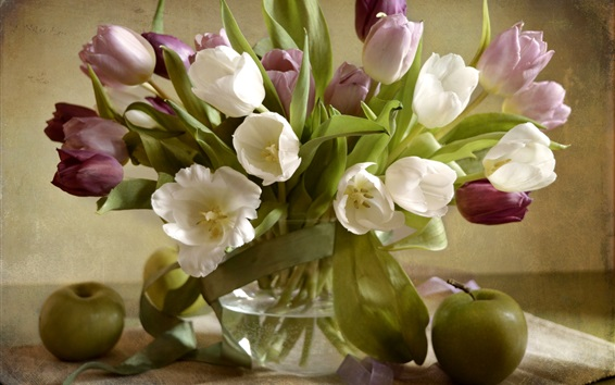 Wallpaper White and purple tulips, green apples