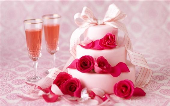 Обои Белый торт, розы, вино