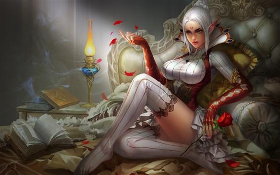 Hintergrundbilder Fantasiephantasiemädchen des weißen Haares, Elf, Bett, Lampe, Buch