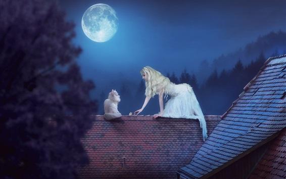 壁紙 白いスカートの女の子と猫、屋根、月、夜、創造的な写真