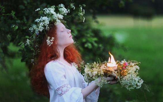 Wallpaper White skirt girl, red hair, wreath, candles