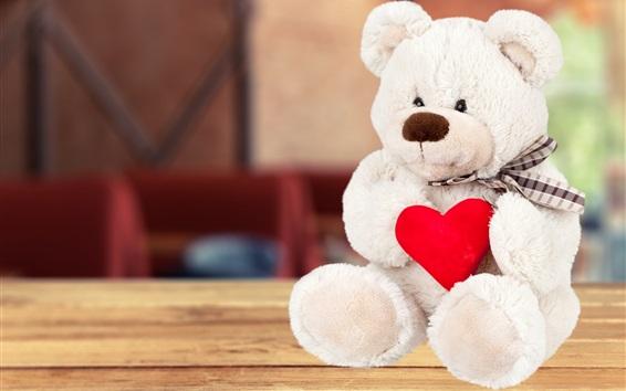 Fond d'écran Ours en peluche blanc, coeur d'amour rouge