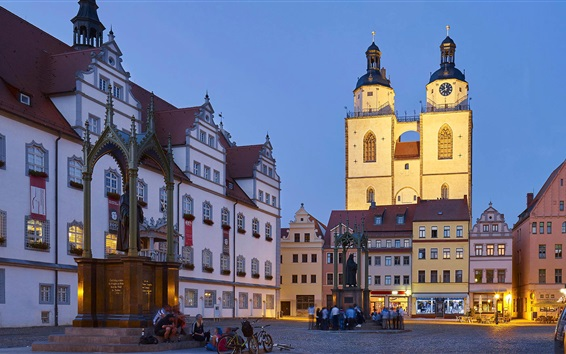 Wallpaper Wittenberg, old town hall, church, evening, market square, Germany