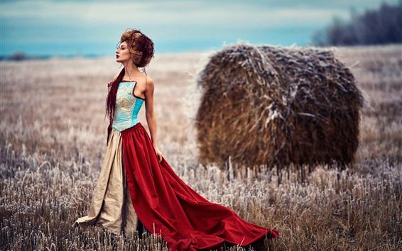 Wallpaper Woman, fields, hay