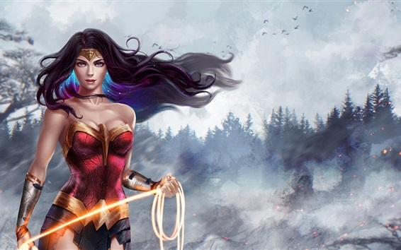 Fond d'écran Wonder Woman, Diana, belle fille, DC Comics, photo d'art