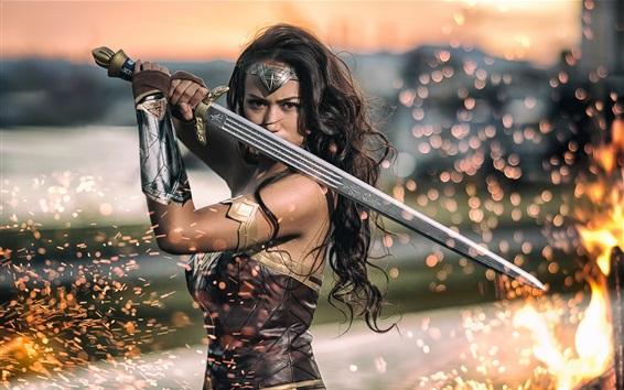 Papéis de Parede Wonder Woman, espada, faíscas