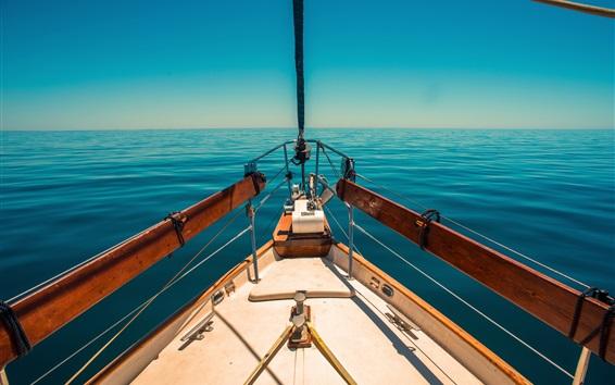 Wallpaper Yacht, blue sea