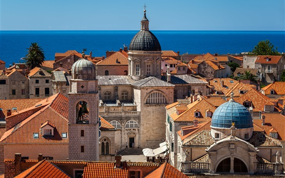 Wallpaper Adriatic Sea, Croatia, city, buildings, roof