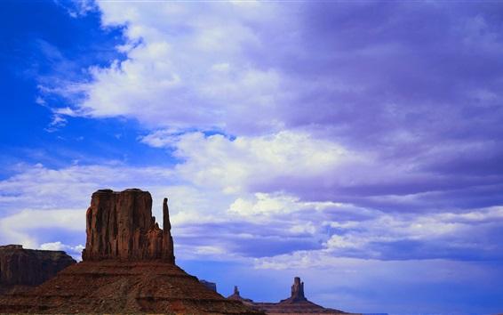 Wallpaper America, mountains, rocks, blue sky, clouds