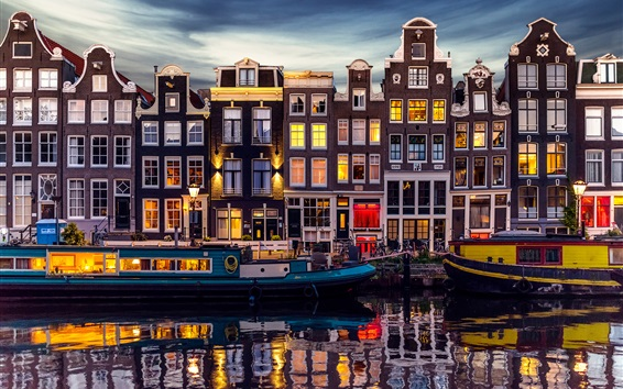 Wallpaper Amsterdam, Netherlands, beautiful night, river, houses, lights