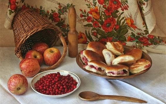 Wallpaper Apples, cranberry, bread, basket