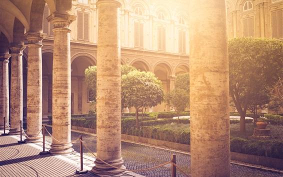 Papéis de Parede Arquitetura, corredor, colunas de pedra, raios solares