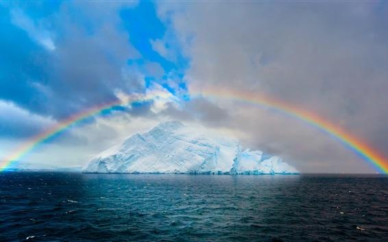 Fond d'écran Arctique, arc-en-ciel, iceberg, mer