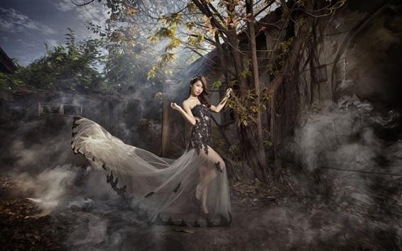 Wallpaper Asian girl, pose, skirt, trees, fog, sun rays