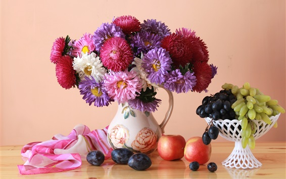 Wallpaper Asters, flowers, grapes, apples, still life