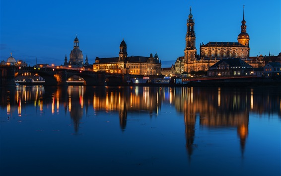 Wallpaper Augustus bridge, Germany, Dresden, river, buildings, night, lights