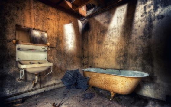 Wallpaper Bathroom, dust, HDR style