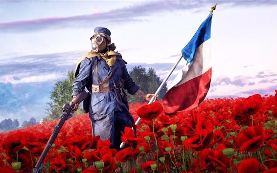 壁纸 战地1,EA游戏,士兵,步枪,红色罂粟花