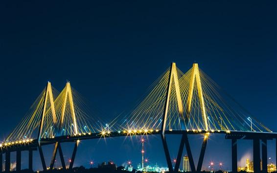 Wallpaper Baytown, bridge, lights, night, USA