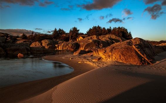 Wallpaper Beach, sea, coast, house, stones, dusk