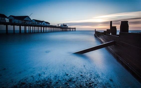 Wallpaper Beach, sea, coast, pier, dawn