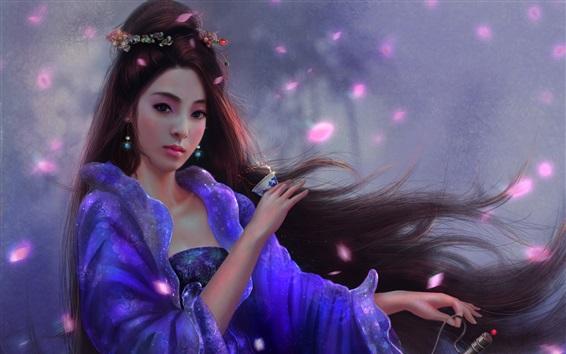 Fondos de pantalla Hermosa chica china, retro, pelo largo, imagen de arte