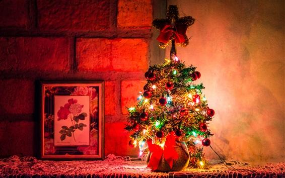 Wallpaper Beautiful Christmas tree, colorful lights