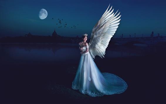 Fondos de pantalla Hermosa chica ángel, alas, noche, luna