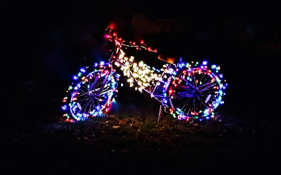 Wallpaper Bicycle at night, colorful holiday lights