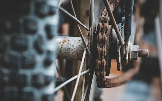 배경 화면 자전거 바퀴와 체인, 녹슨