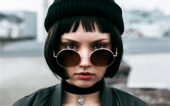 Wallpaper Black short hair girl, hat, glasses