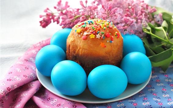 壁紙 青イースターエッグ、ケーキ、花