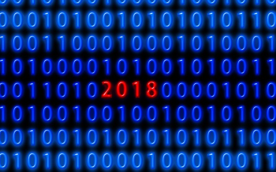 Wallpaper Blue binary code, red 2018 New Year