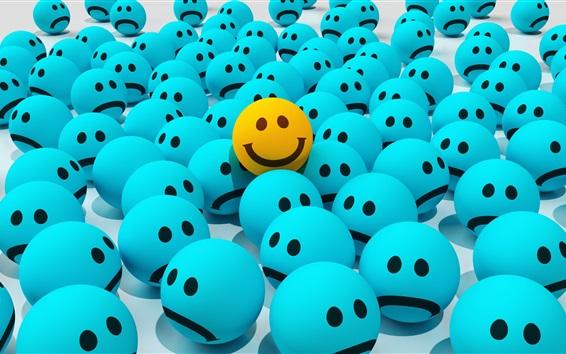 Papéis de Parede Cara triste da tristeza, cara sorridente amarela, 3D