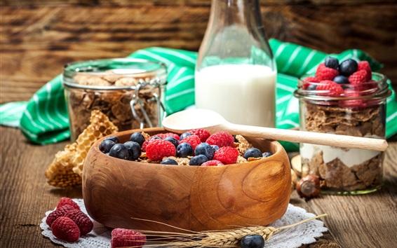 Papéis de Parede Mirtilos, framboesa, leite, muesli
