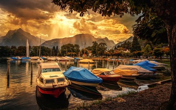 Papéis de Parede Barcos, docas, nuvens, árvores, raios solares