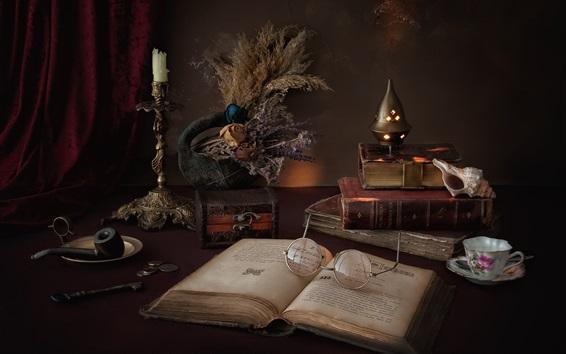 Papéis de Parede Livro, óculos, vela, still life