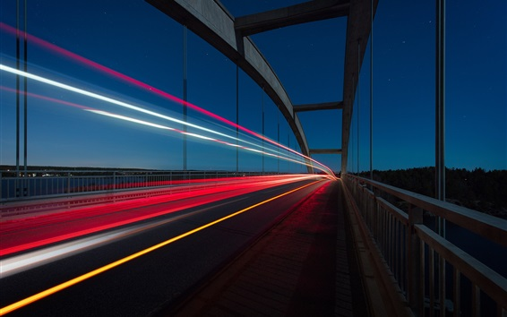 Wallpaper Bridge, colorful light lines, night