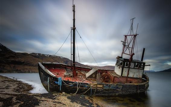 Wallpaper Broken ship, sea, coast