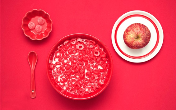 Wallpaper Candy, milk, apple, red table