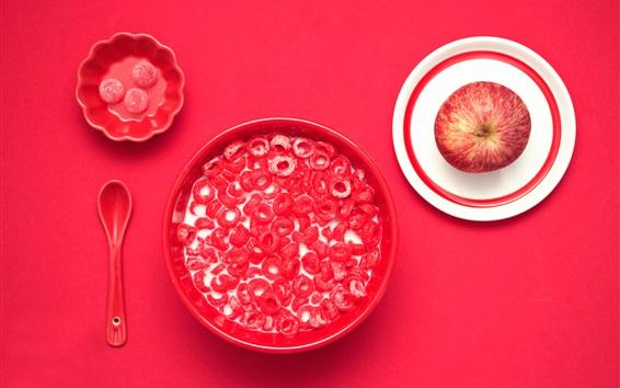 壁纸 糖果,牛奶,苹果,红色的桌子