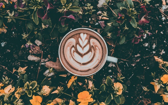 Wallpaper Cappuccino, coffee, cup, foam, leaves